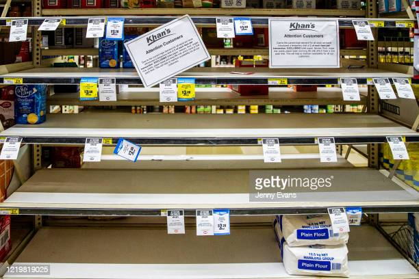 Shelves usually displaying soap are seen at Khan's SUPA IGA on April 18, 2020 in Cobar, Australia. For Australians who live in the bush and hundreds...
