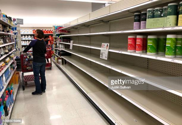 Shelves where disinfectant wipes are usually displayed is nearly empty at a Target store on March 02 2020 in Novato California As fears of the...