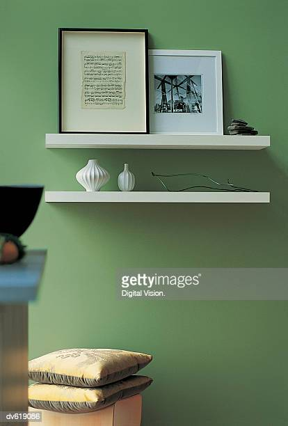 Shelves with Knick Knacks Mounted on Wall