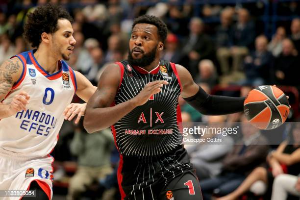 Shelvin Mack #1 of AX Armani Exchange Milan in action during the 2019/2020 Turkish Airlines EuroLeague Regular Season Round 10 match between AX...
