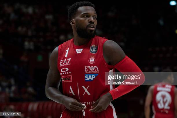 Shelvin Mack #1 of AX Armani Exchange Olimpia Milano looks on during the LBA Lega Basket Serie A Round 2 match between AX Armani Exchange Olimpia...