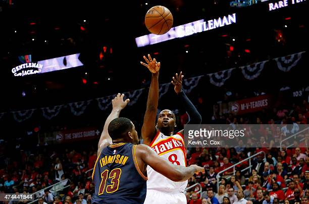 Shelvin Mack of the Atlanta Hawks shoots against Tristan Thompson of the Cleveland Cavaliers in the fourth quarter during Game Two of the Eastern...