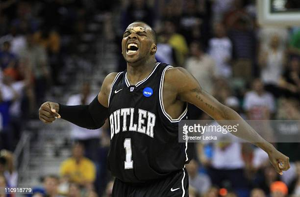 Shelvin Mack of the Butler Bulldogs reacts during their game against the Florida Gators in overtime of the Southeast regional final of the 2011 NCAA...