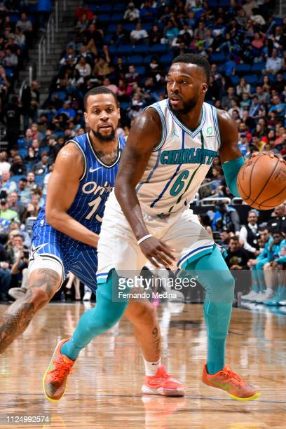 Shelvin Mack of the Charlotte Hornets handles the ball against the Orlando Magic on February 14 2019 at Amway Center in Orlando Florida NOTE TO USER...