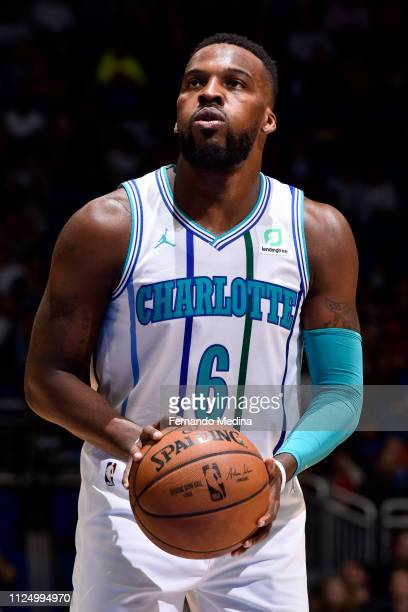 Shelvin Mack of the Charlotte Hornets shoots a free throw against the Orlando Magic on February 14 2019 at Amway Center in Orlando Florida NOTE TO...