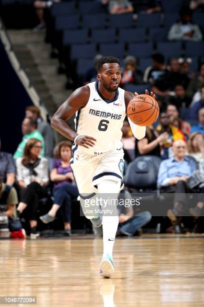 Shelvin Mack of the Memphis Grizzlies handles the ball against the Indiana Pacers during a preseason game on October 6 2018 at FedExForum in Memphis...