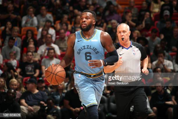 Shelvin Mack of the Memphis Grizzlies handles the ball against the Miami Heat on January 12 2019 at American Airlines Arena in Miami Florida NOTE TO...