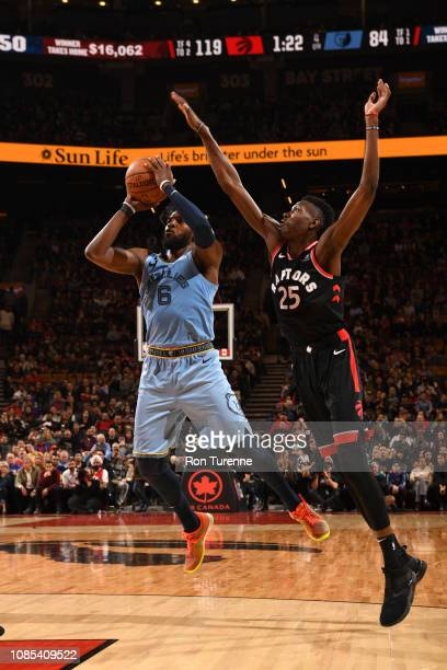 Shelvin Mack of the Memphis Grizzlies shoots the ball against Chris Boucher of the Toronto Raptors on January 19 2019 at the Scotiabank Arena in...