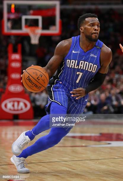 Shelvin Mack of the Orlando Magic drives against the Chicago Bulls at the United Center on December 20 2017 in Chicago Illinois The Bulls defeated...