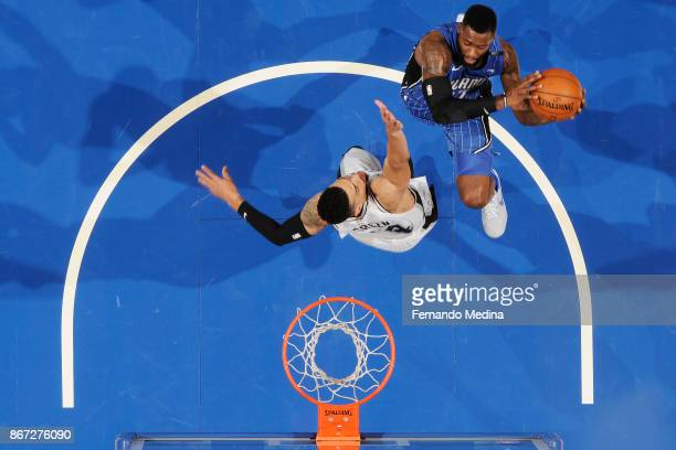 Shelvin Mack of the Orlando Magic drives to the basket against the San Antonio Spurs on October 27 2017 at Amway Center in Orlando Florida NOTE TO...