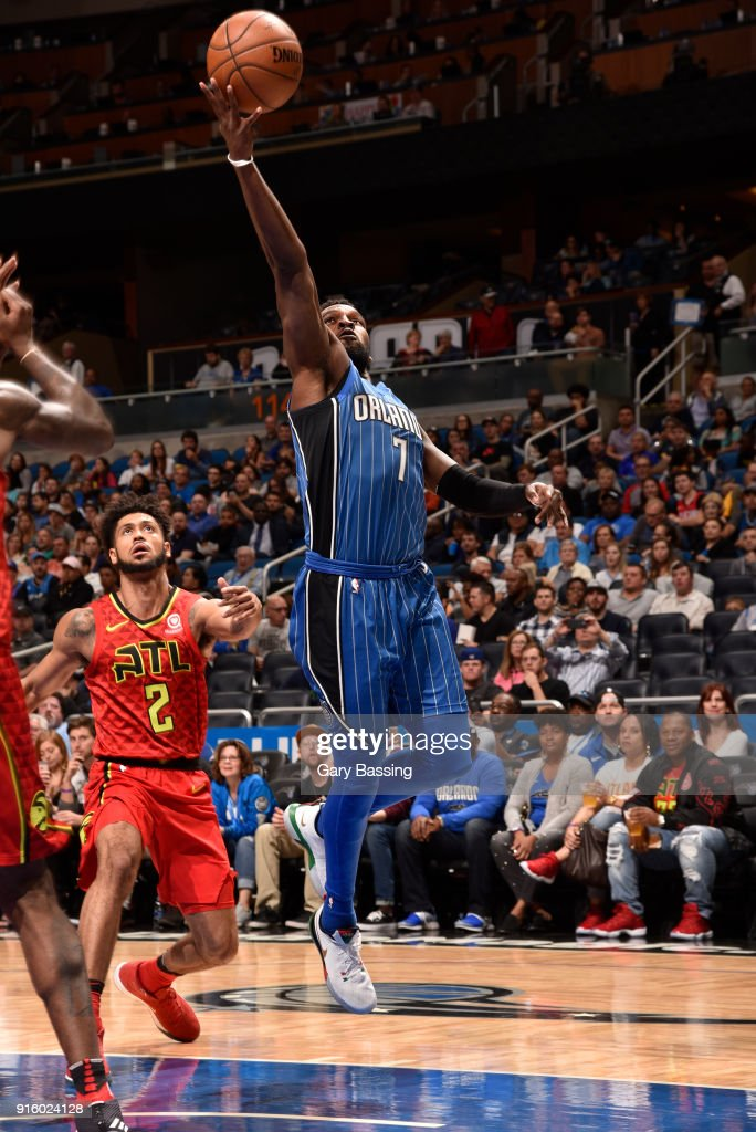 Shelvin Mack #7 of the Orlando Magic goes to the basket against the Atlanta Hawks on February 8, 2018 at the Amway Center in Orlando, Florida.