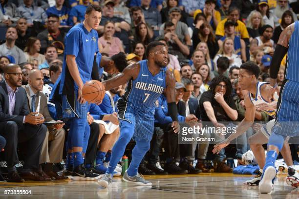Shelvin Mack of the Orlando Magic handles the ball against the Golden State Warriors on November 13 2017 at ORACLE Arena in Oakland California NOTE...