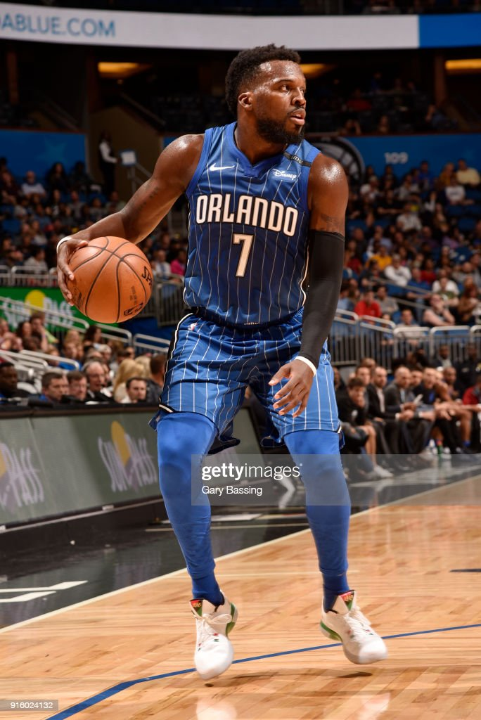 Shelvin Mack #7 of the Orlando Magic handles the ball against the Atlanta Hawks on February 8, 2018 at the Amway Center in Orlando, Florida.