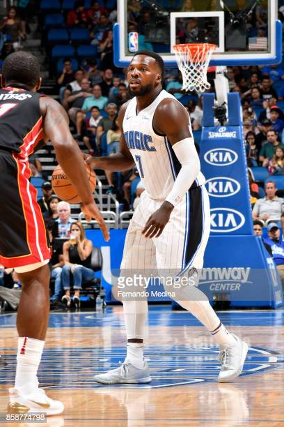 Shelvin Mack of the Orlando Magic handles the ball against the Miami Heat during a preseason game on October 8 2017 at Amway Center in Orlando...