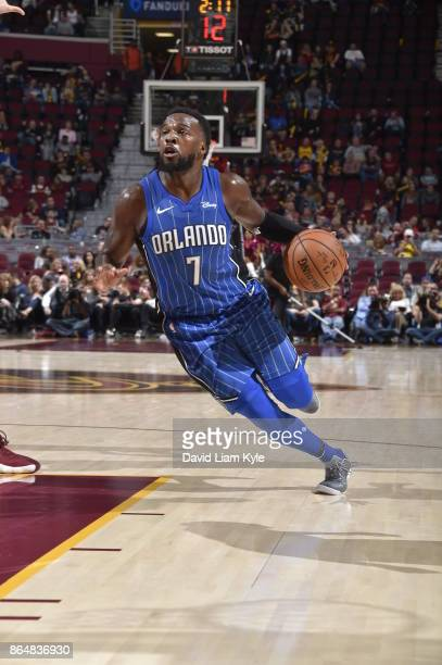 Shelvin Mack of the Orlando Magic handles the ball against the Cleveland Cavaliers on October 21 2017 at Quicken Loans Arena in Cleveland Ohio NOTE...