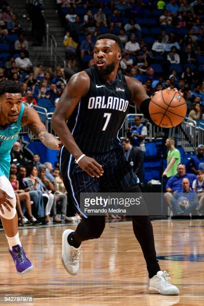 Shelvin Mack of the Orlando Magic handles the ball against the Charlotte Hornets on April 6 2018 at Amway Center in Orlando Florida NOTE TO USER User...