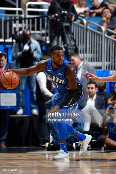 Shelvin Mack of the Orlando Magic handles the ball against the San Antonio Spurs on October 27 2017 at Amway Center in Orlando Florida NOTE TO USER...