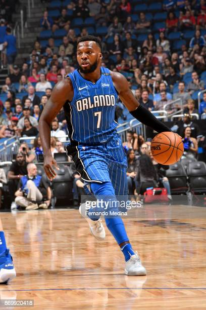 Shelvin Mack of the Orlando Magic handles the ball during the game against the Chicago Bulls on November 3 2017 at Amway Center in Orlando Florida...