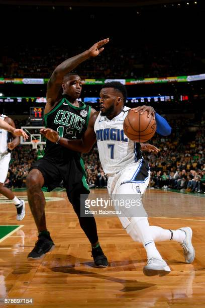 Shelvin Mack of the Orlando Magic handles the ball during the game against the Boston Celtics on November 24 2017 at the TD Garden in Boston...