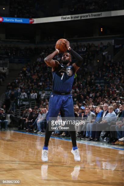 Shelvin Mack of the Orlando Magic shoots the ball against the Milwaukee Bucks on April 9 2018 at the BMO Harris Bradley Center in Milwaukee Wisconsin...