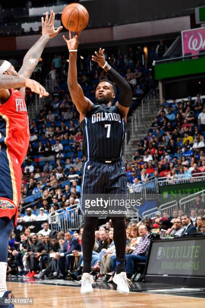Shelvin Mack of the Orlando Magic shoots the ball against the New Orleans Pelicans on December 22 2017 at Amway Center in Orlando Florida Or NOTE TO...