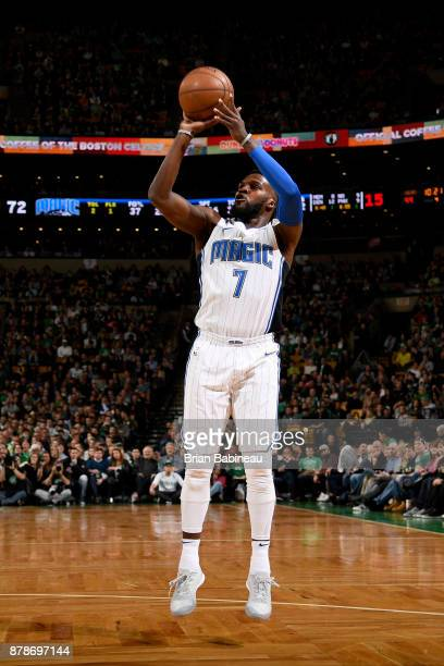 Shelvin Mack of the Orlando Magic shoots the ball during the game against the Boston Celtics on November 24 2017 at the TD Garden in Boston...