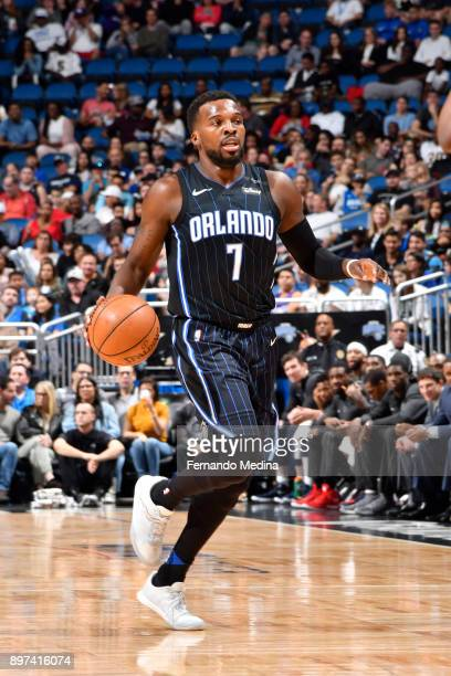 Shelvin Mack of the Orlando Magichandles the ball against the New Orleans Pelicans on December 22 2017 at Amway Center in Orlando Florida Or NOTE TO...