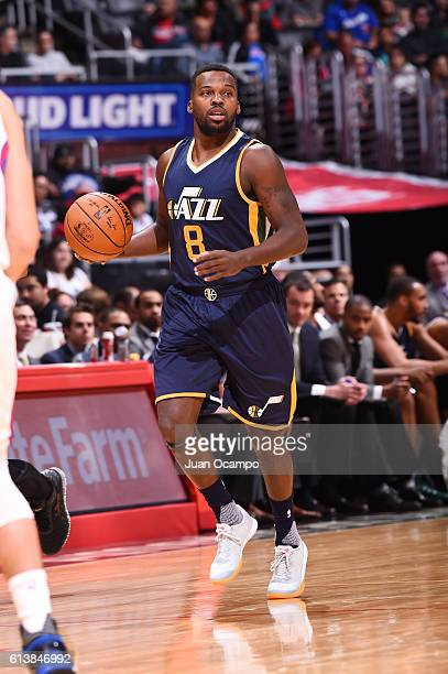 Shelvin Mack of the Utah Jazz brings the ball up court against the Los Angeles Clippers during a preseason game on October 10 2016 at STAPLES Center...