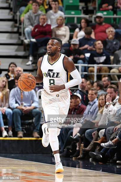 Shelvin Mack of the Utah Jazz brings the ball up court against the Portland Trail Blazers on October 19 2016 at vivintSmartHome Arena in Salt Lake...