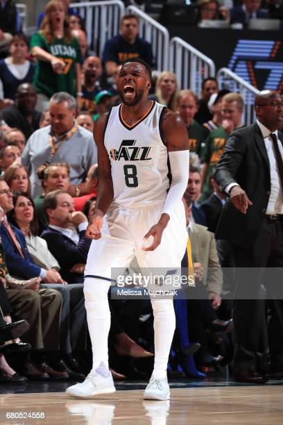 Shelvin Mack of the Utah Jazz celebrates against the Golden State Warriors in Game Four of the Western Conference Semifinals of the 2017 NBA Playoffs...