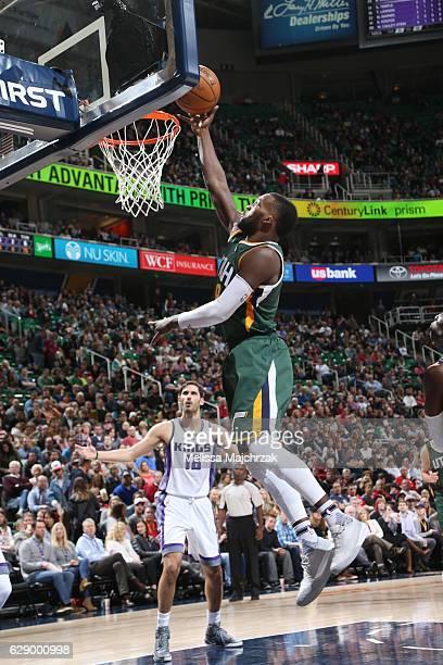 Shelvin Mack of the Utah Jazz dunks against the Sacramento Kings during the game on December 10 2016 at vivintSmartHome Arena in Salt Lake City Utah...