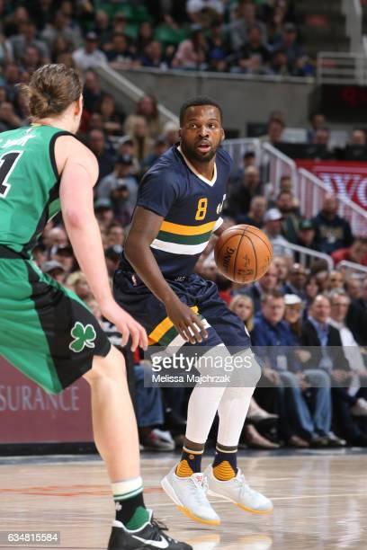 Shelvin Mack of the Utah Jazz handles the ball against the Boston Celtics on February 11 2017 at vivintSmartHome Arena in Salt Lake City Utah NOTE TO...