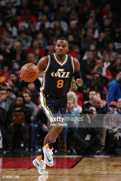 Shelvin Mack of the Utah Jazz handles the ball against the Chicago Bulls on March 19 2016 at the United Center in Chicago Illinois NOTE TO USER User...