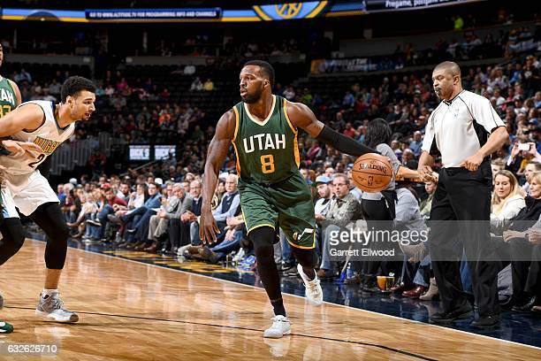Shelvin Mack of the Utah Jazz handles the ball against the Denver Nuggets on January 24 2017 at the Pepsi Center in Denver Colorado NOTE TO USER User...