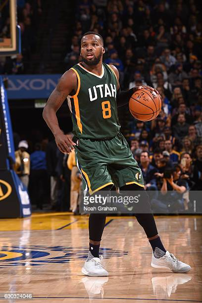 Shelvin Mack of the Utah Jazz handles the ball against the Golden State Warriors on December 20 2016 at ORACLE Arena in Oakland California NOTE TO...