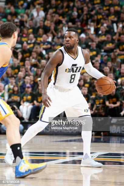 Shelvin Mack of the Utah Jazz handles the ball against the Golden State Warriors during Game Three of the Western Conference Semifinals of the 2017...