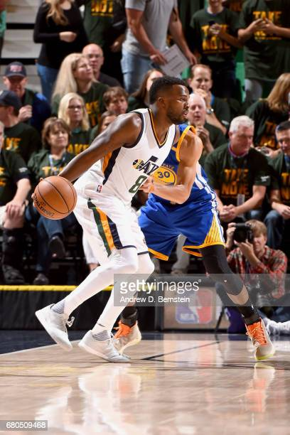 Shelvin Mack of the Utah Jazz handles the ball against the Golden State Warriors during Game Four of the Western Conference Semifinals of the 2017...
