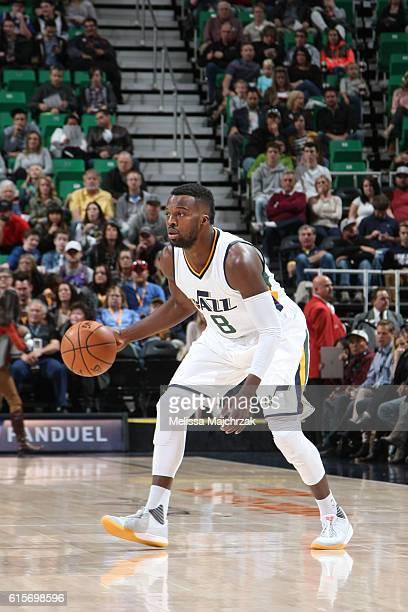 Shelvin Mack of the Utah Jazz handles the ball against the Portland Trail Blazers on October 19 2016 at vivintSmartHome Arena in Salt Lake City Utah...