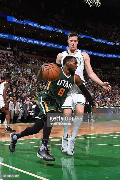 Shelvin Mack of the Utah Jazz handles the ball during the game against the Boston Celtics on January 3 2017 at the TD Garden in Boston Massachusetts...