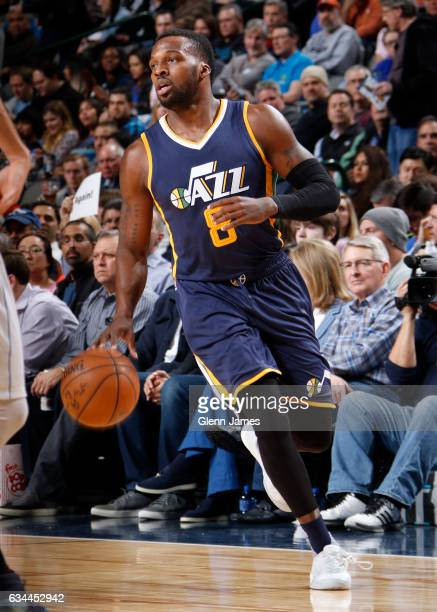 Shelvin Mack of the Utah Jazz handles the ball during the game against the Dallas Mavericks on February 9 2017 at the American Airlines Center in...