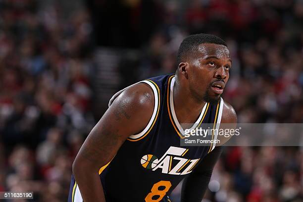 Shelvin Mack of the Utah Jazz looks on during the game against the Portland Trail Blazers on February 21 2016 at the Moda Center in Portland Oregon...