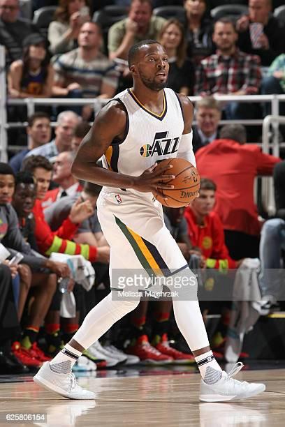 Shelvin Mack of the Utah Jazz looks to pass against the Atlanta Hawks on November 25 2016 at vivintSmartHome Arena in Salt Lake City Utah NOTE TO...