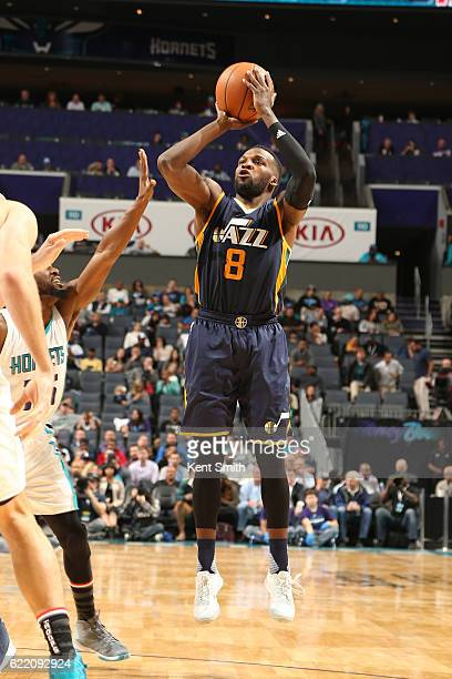 Shelvin Mack of the Utah Jazz shoots the ball against the Charlotte Hornets on November 9 2016 at Spectrum Center in Charlotte North Carolina NOTE TO...