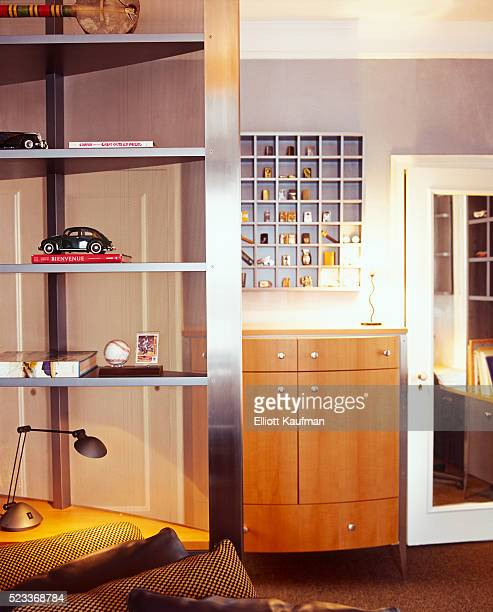 Shelving and Curio Cabinet Holding Collectibles