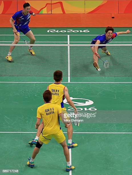 Shem Goh and Wee Kiong Tan of Malaysia play a Mens Doubles Quarterfinal match against Yong Dae Lee and Yeon Seong Yoo of Korea on Day 10 of the 2016...