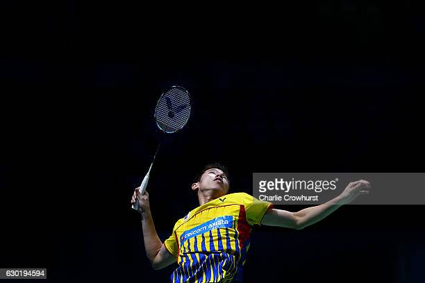 V shem Goh of Malaysia in action during the men's doubles final against Takeshi Kamura and Keigo Sonoda of Japan on Day Five of the BWF Dubai World...