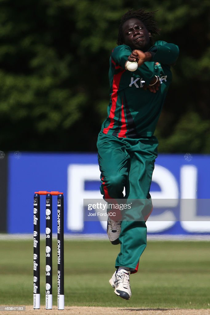 Shem Ngoche of Kenya bowls during an ICC World Cup qualifying match against Uganda on January 19, 2014 in Mount Maunganui, New Zealand.