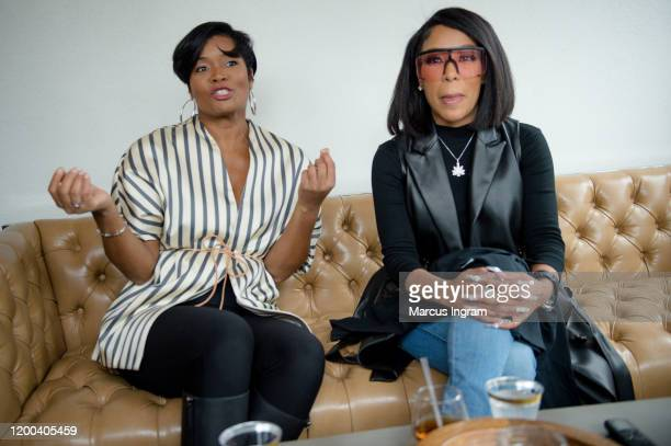 Shema Fulton and K. Michelle attend the Pearl Meets Puff & Petals Pop Up at Garden Parc on January 18, 2020 in Atlanta, Georgia.