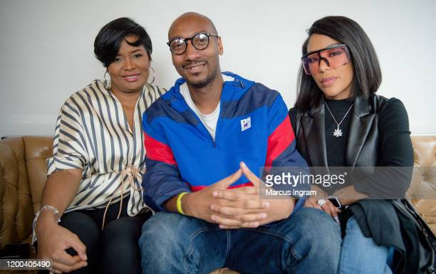 Shema Fulton, Christopher A. Daniel, and K. Michelle attend the Pearl Meets Puff & Petals Pop Up at Garden Parc on January 18, 2020 in Atlanta,...