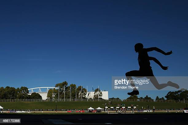 Shemaiah James of Qld competes in the Men's Under 20 Triple Jump during the Australian Junior Athletics Championships at Sydney Olympic Park on March...